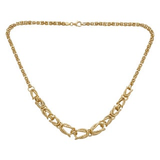 Decadence 14k Yellow Gold Graduated 4-11mm Byzantine Necklace
