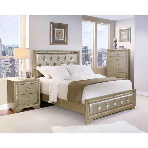 Abbyson Valentino Mirrored and Leather Tufted 4-piece Queen Bedroom Set