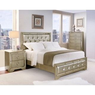 Abbyson Living Valentino Mirrored and Leather Tufted 4-piece Queen-size Bedroom Set