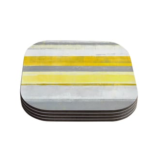Kess InHouse CarolLynn Tice 'Lemon' Yellow Gray Coasters (Set of 4)
