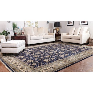 Somette Hand-knotted Kashan Navy Oriental Wool Rectangular Area Rug (10' x 14')