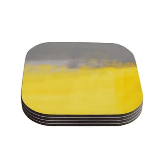 Kess InHouse CarolLynn Tice 'A Simple Abstract' Yellow Gray Coasters (Set of 4)
