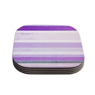 Kess InHouse CarolLynn Tice 'Grape' Purple White Coasters (Set of 4)