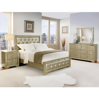 ABBYSON LIVING Valentino Mirrored and Leather Tufted 5-piece Queen Bedroom Set