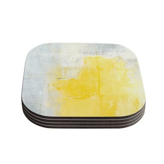 Kess InHouse CarolLynn Tice 'Stability' Yellow White Coasters (Set of 4)