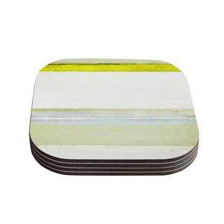 Kess InHouse CarolLynn Tice 'Built to Last' Yellow White Coasters (Set of 4)