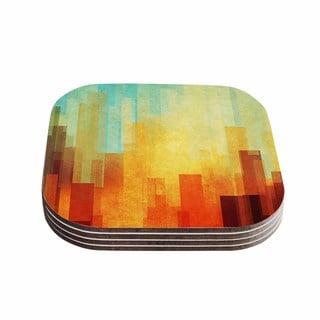Kess InHouse Cvetelina Todorova 'Urban Sunset' Teal Geometric Coasters (Set of 4)
