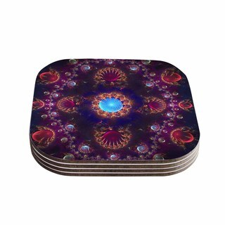 Kess InHouse Cvetelina Todorova 'Royal Jewels' Purple Blue Coasters (Set of 4)