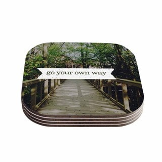 Kess InHouse Chelsea Victoria 'Go Your Own Way' Nature Green Coasters (Set of 4)