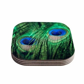 Kess InHouse Chelsea Victoria 'Peacock Feathers' Blue Green Coasters (Set of 4)