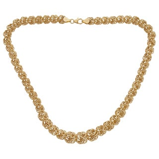 Decadence 14k Yellow Gold DC Graduated 8-12mm Rosetta Necklace