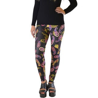 Women's Plus Size Black Paisley Microfiber and Spandex Machine Washable Leggings