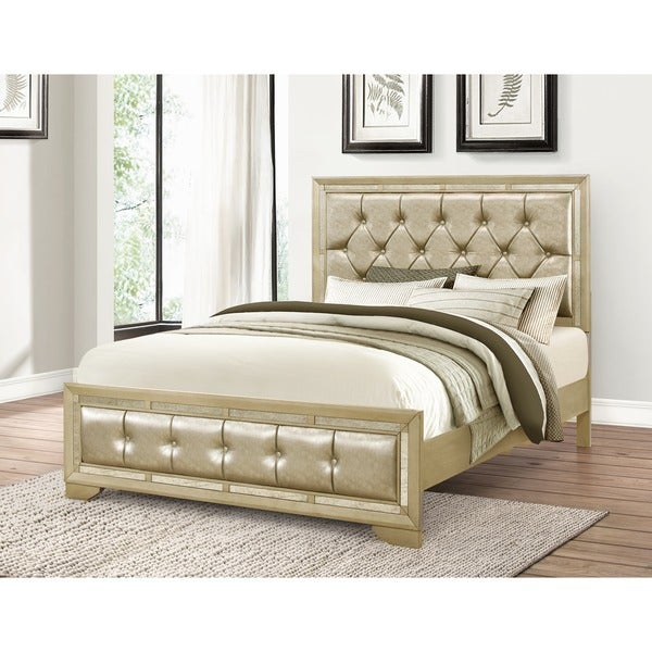 shop abbyson valentino mirrored and tufted leather california king bed free shipping today. Black Bedroom Furniture Sets. Home Design Ideas