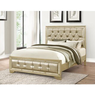 Abbyson Valentino Mirrored and Tufted Leather California King Bed