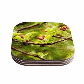 Kess InHouse Ginkelmier 'Painted Apple Blossom Branch' Green Photography Coasters (Set of 4)