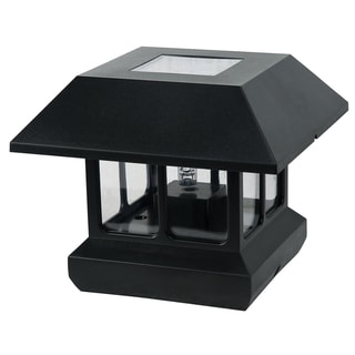 Paradise GL23124BK Bk Plastic Solar Post Light W/White LED Light & Clear Lens