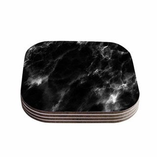 Kess InHouse Chelsea Victoria 'Black Marble' Modern White Coasters (Set of 4)