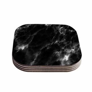 Kess InHouse Chelsea Victoria 'Black Marble' Modern White Coasters (Set of 4)