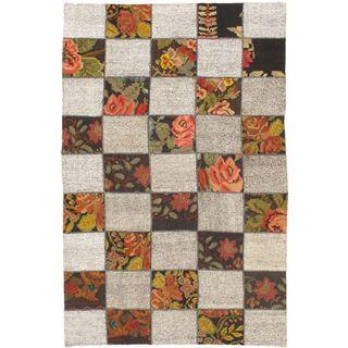 ecarpetgallery Handmade Moldovia Duo Patch Beige and Brown Wool Kilim Rug (5'2 x 8')