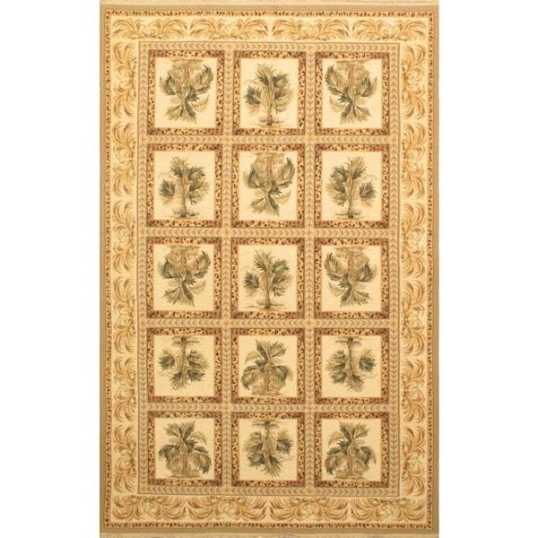ecarpetgallery Handmade Chobi Sumak Beige and Cream Wool Sumak (5'6 x 8'6)