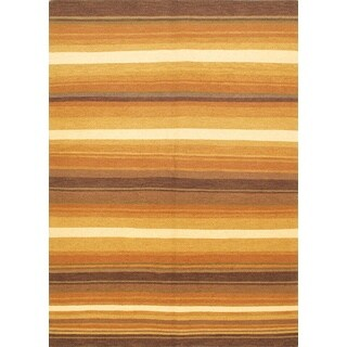 ecarpetgallery Handmade Lahor Finest Brown and Orange Wool Sumak (5'8 x 7'8)