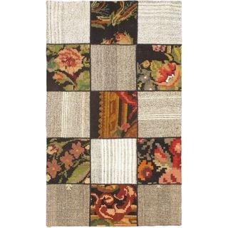 ecarpetgallery Handmade Moldovia Duo Patch Beige Wool Kilim Rug (3'8 x 6'2)