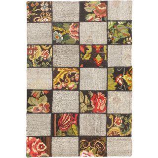 ecarpetgallery Handmade Moldovia Duo Patch Beige Wool Kilim Rug (3'1 x 4'7)