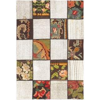 ecarpetgallery Moldovia Duo Patch Beige/Cream Handmade Wool Kilim (3'6 x 5'2)