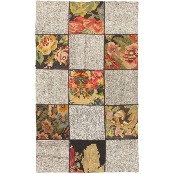 ecarpetgallery Handmade Moldovia Duo Patch Beige and Black Wool Kilim Rug (3'7 x 6'2)