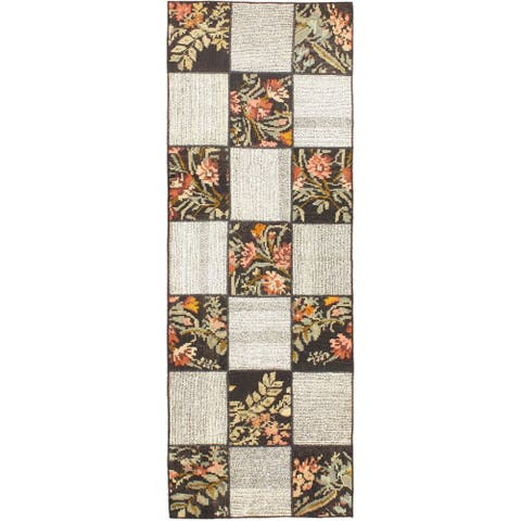 "ECARPETGALLERY Flat-weave Moldovia Duo Patch Cream Wool Kilim - 2'7"" x 7'4"""