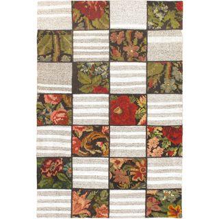 ecarpetgallery Handmade Moldovia Duo Patch Beige and Brown Wool Kilim Rug (4'1 x 6'1)