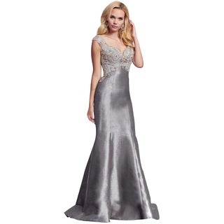 Mac Duggal Charcoal Gray Rhinestone Embellished Prom Mermaid Eve Gown Dress
