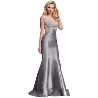 Mac Duggal Charcoal Gray Rhinestone Embellished Prom Mermaid Eve Gown Dress|https://ak1.ostkcdn.com/images/products/11806490/P18714786.jpg?impolicy=medium