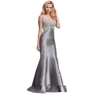 Mac Duggal Charcoal Gray Rhinestone Embellished Prom Mermaid Eve Gown Dress