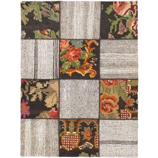 eCarpetGallery Moldovia Handmade Beige Wool Duo Patch Kilim Rug (3'7 x 4'11)