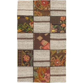 ecarpetgallery Handmade Moldovia Duo Patch Beige Wool Kilim Rug (3'10 x 6'5)