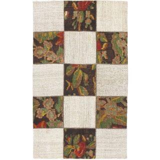 ecarpetgallery Handmade Moldovia Duo Patch Beige Multicolor Wool Kilim Rug (3'10 x 6'5)