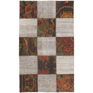 eCarpetGallery Moldovia Beige Wool Handmade Duo Patch Kilim (3'10 x 6'5)
