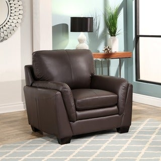 Abbyson Bella Brown Top-grain Leather Arm Chair