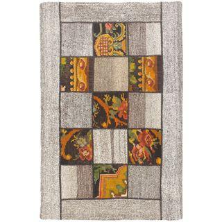 ecarpetgallery Handmade Moldovia Duo Patch Beige/Grey Wool Kilim (3'3 x 5'0)