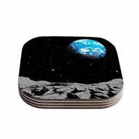 Kess InHouse Digital Carbine 'From The Moon' Blue Geological Coasters (Set of 4)