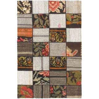 ecarpetgallery Handmade Moldovia Duo Patch Beige Wool Kilim Rug (3'10 x 5'9)