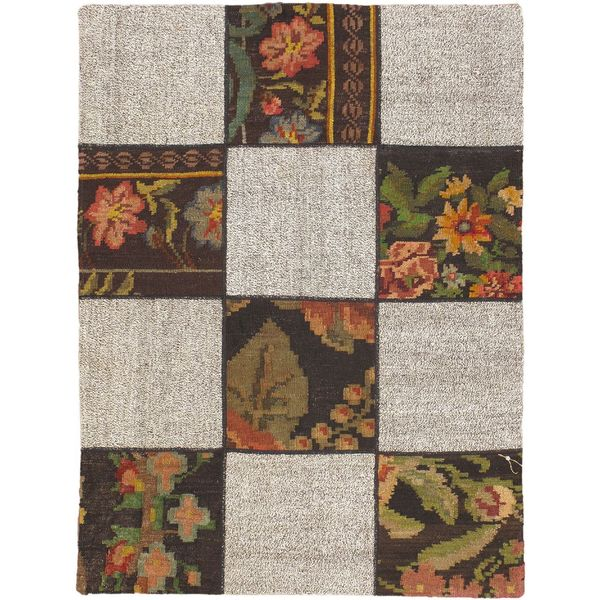 eCarpetGallery Moldovia Handmade Duo Patch Beige/Grey Wool Kilim (3'8 x 4'11)