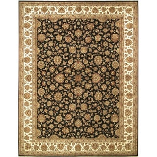 ecarpetgallery Hand-knotted Mirzapur Beige and Black Wool Rug (9'3 x 11'10)