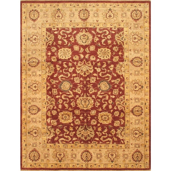 ecarpetgallery Hand-knotted Chobi Finest Beige and Red Wool Rug (9' x 11'11)