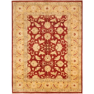 ecarpetgallery Hand-knotted Chobi Finest Orange and Red Wool Rug (9'1 x 12'2)