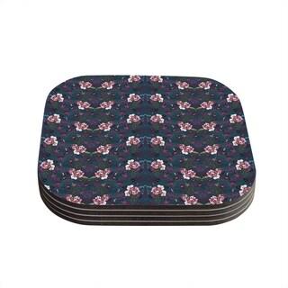 Kess InHouse DLKG Design 'Cool Stitch' Purple Navy Coasters (Set of 4)