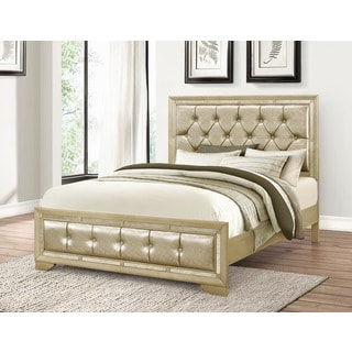 Abbyson Living Valentino Mirrored and Tufted Leather King Bed