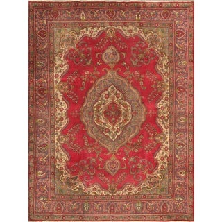 ecarpetgallery Hand-knotted Tabriz Purple and Red Wool Rug (9'10 x 13'1)