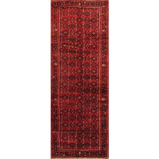 ecarpetgallery Hand-knotted Hosseinabad Red Wool Rug (3'7 x 13'6)